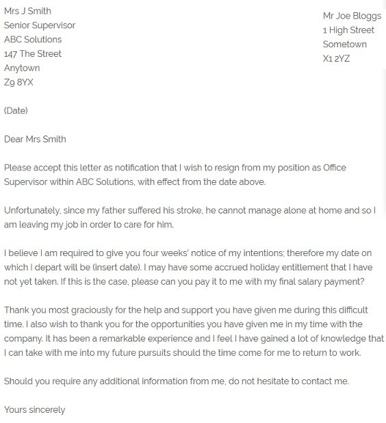 Resignation Letter Example  Due To Family Illness  ResignletterOrg