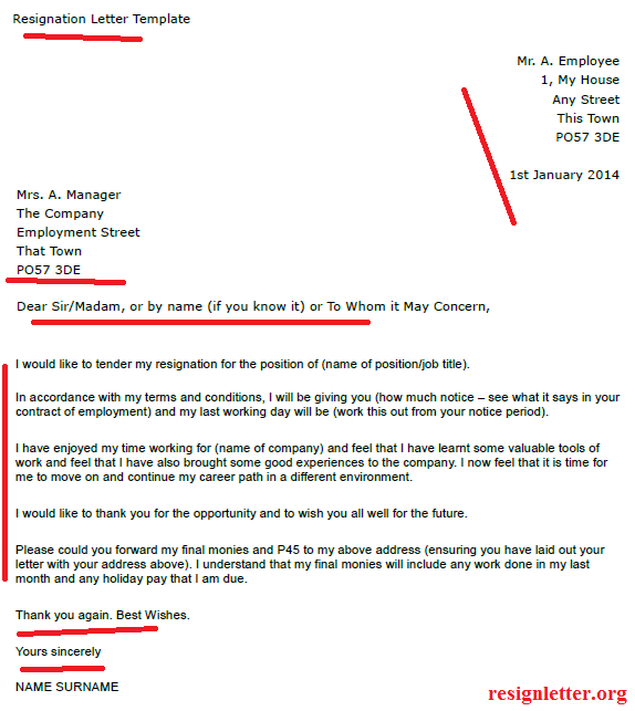 example resignation letter template