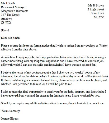 resignation letter example for a waiter waitress