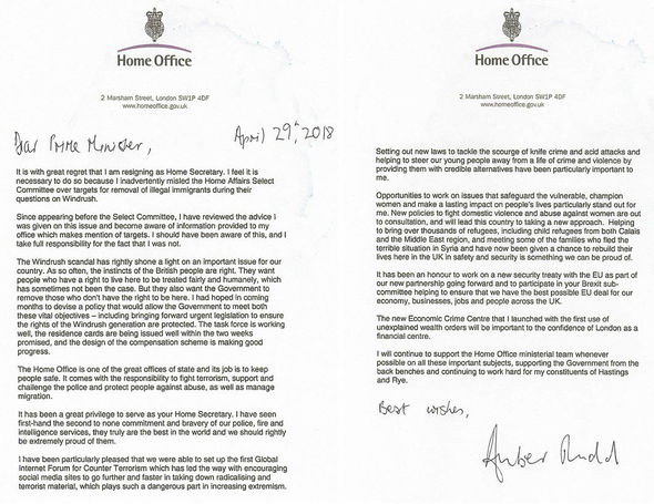 Amber rudd resignation letter to theresa may resignletter amber rudd resignation letter spiritdancerdesigns Choice Image